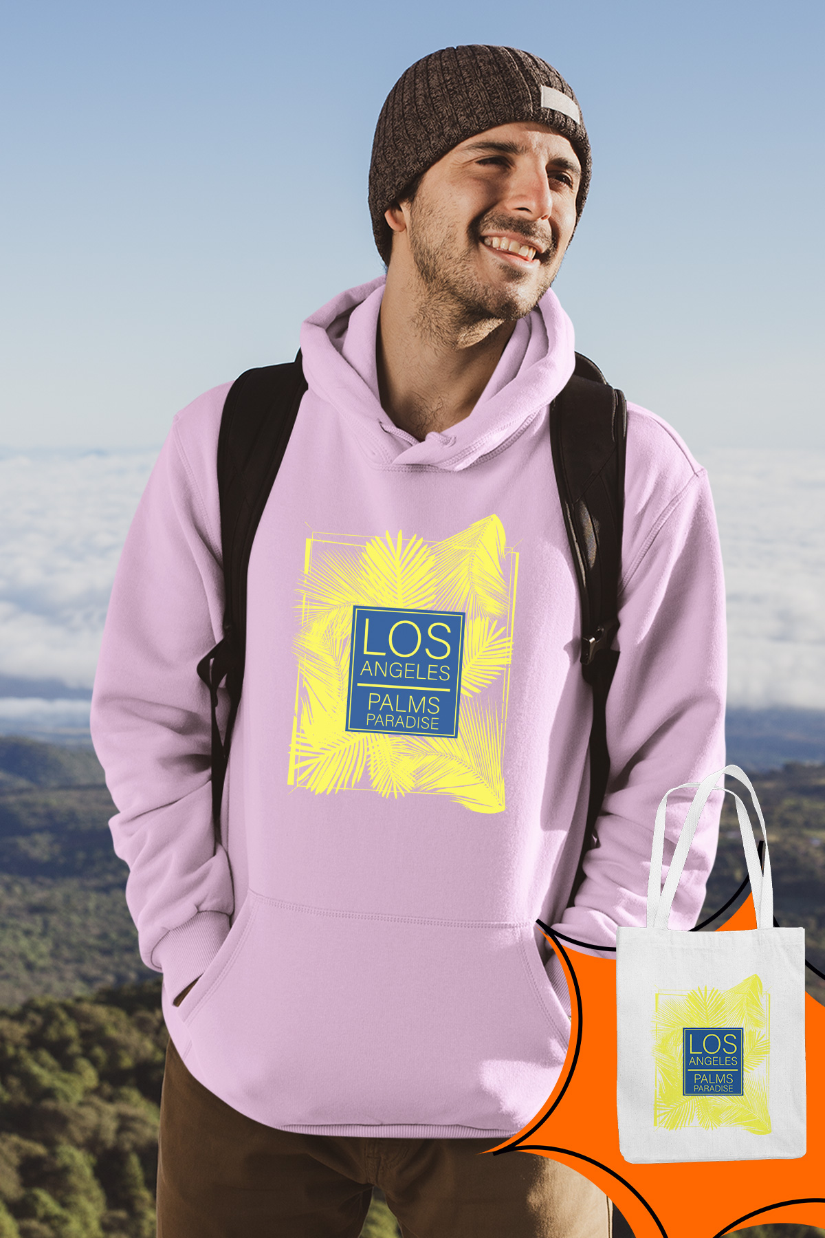 Angemiel Wear Los Angeles Palm Paradise Pink Male Hooded Sweatshirt Bags Kombin