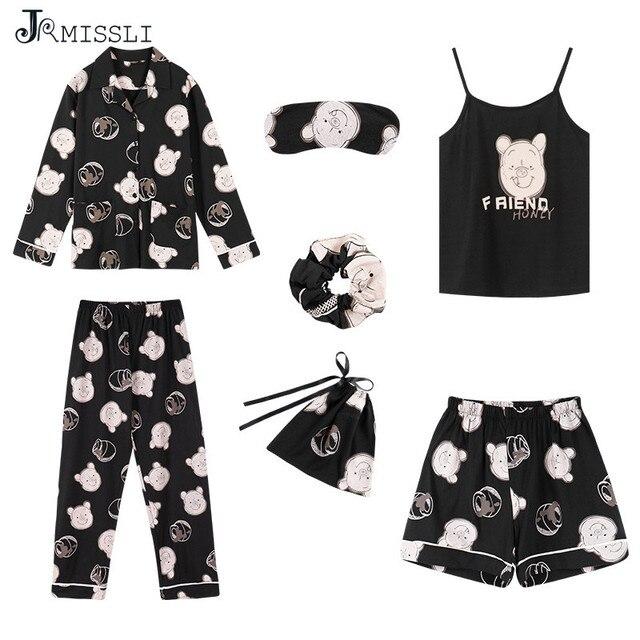 Пижамный комплект JRMISSLI из 7 предметов, 100% хлопок, пикантная женская ночная рубашка, домашняя одежда, осень 2019, женские шорты, штаны