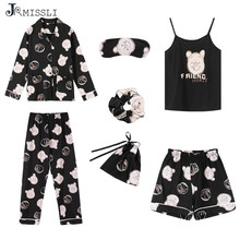 JRMISSLI 7 Pieces Set 100% Cotton Pajamas Sexy Woman Nightie Home Clothes 2019 Autumn Female Shorts Pants