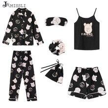Jrmissli 7 peças conjunto 100% algodão pijamas sexy mulher nightie casa roupas 2019 outono feminino shorts calças