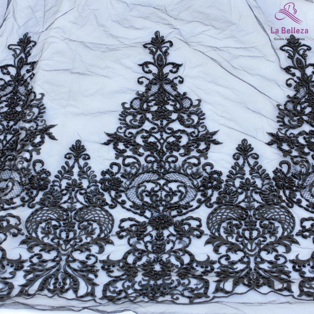 La Belleza 2019 nouveau 75cm largeur noir bilatéral perlé paillettes dentelle garniture magnifique dentelle garniture pour accessoires de mariée 1 yard