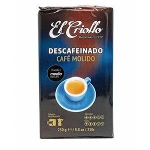 Decaffeinated Creole coffee, 250g ground coffee