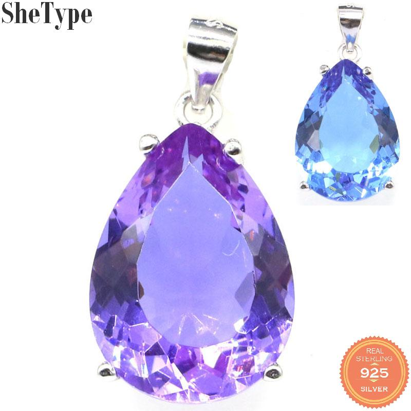 27x13mm SheType Water Drop 18x13mm 4.0g Created Color Changing Alexandrite & Topaz Gift For Ladies 925 Sterling Silver Pendant