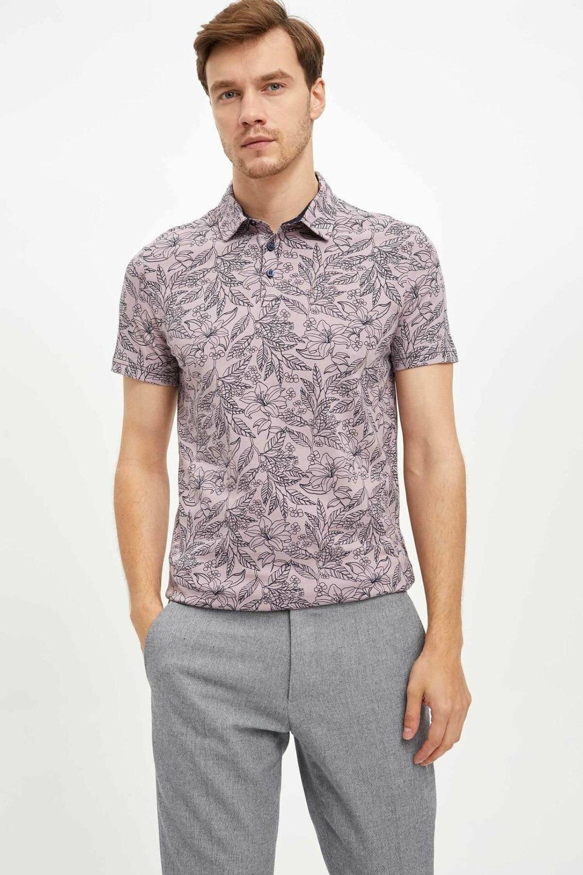 DeFacto Summer Fashion Light Color Print Pattern Leisure Mens Short-Sleeved Shirts Male Casual Lapel New-L6890AZ19AU