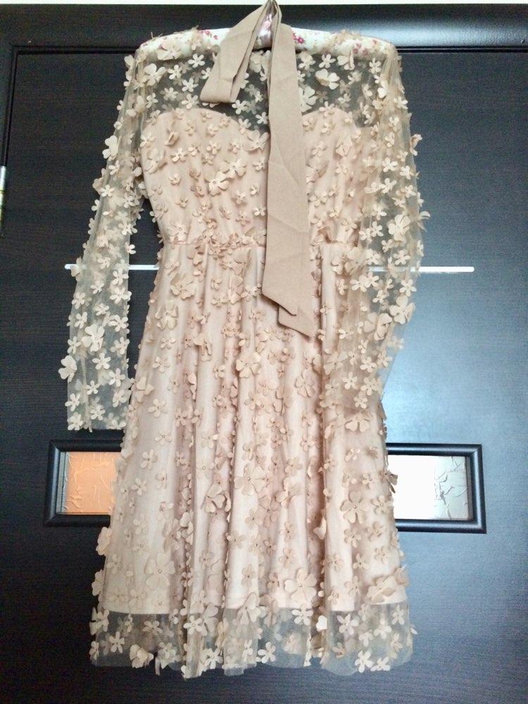 Summer New Elegant Women'S Mini Dress Sky Blue Beige Pink Long Sleeve Lace A Word Dress Celebrity Party Dress Vestidos photo review