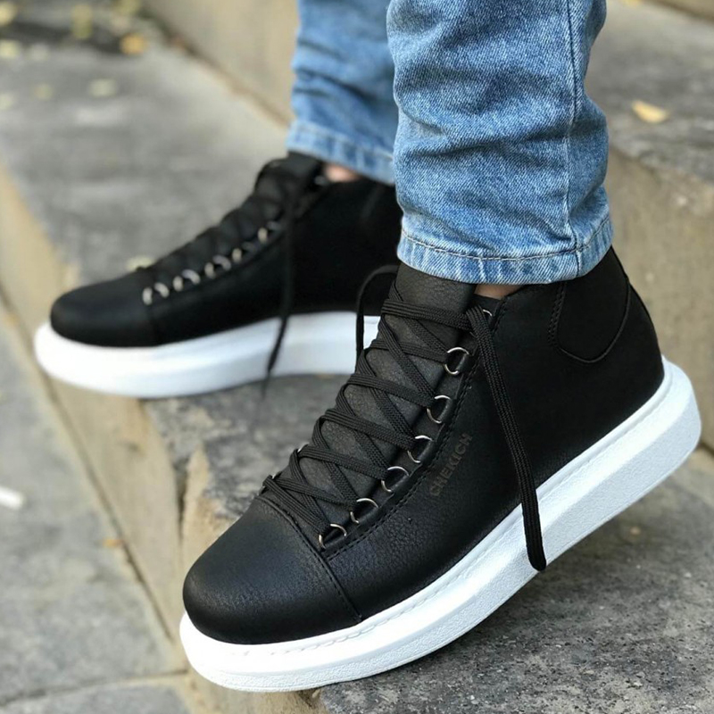 Men Casual Sport High Sole Shoes Lace-up Men Sneakers Shoes Comfortable Flexible Fashion Style Leather Wedding Classic Shoes Breathable Walking Running Sneakers Tenis Masculino Zapatillas Hombre