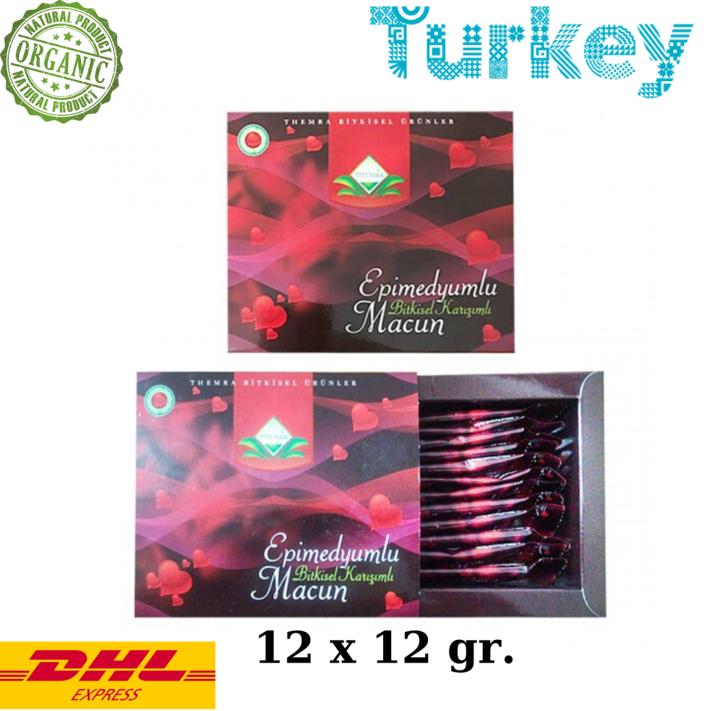 Themra Epimedium Turkish Honey Mix Macun Horny Goat Weed Ginseng Herbal Aphrodisiac– Turkish Paste, 12x12 Gr., 144 Gr.