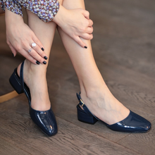 Aura Navy Blue Patent Leather Heels Shoes High Heel