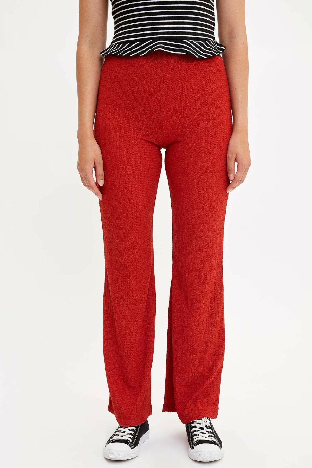 DeFacto Woman Summer Red Color Long Pants Women Casual Mid-waist Wide-leg Bottoms Female Fit Trousers-L4790AZ19SM