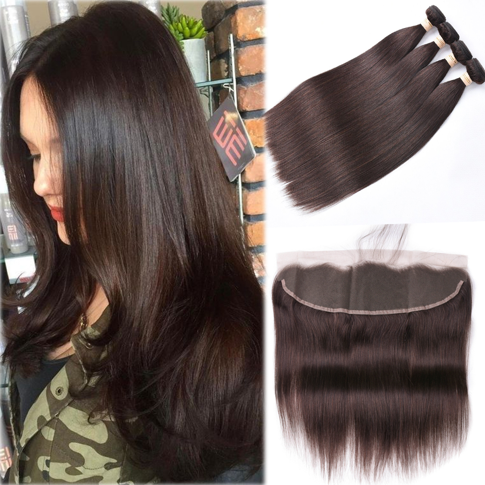 Brazilian Straight Hair Bundles With Frontal 2# 100% Human Hair Bundles With Closure Brazilian Hair Weave Bundles With Closure 1