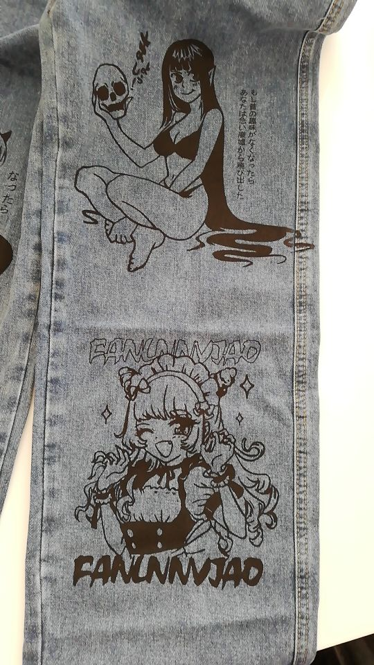 Blue Jeans in Harajuku style with Anime Print photo review