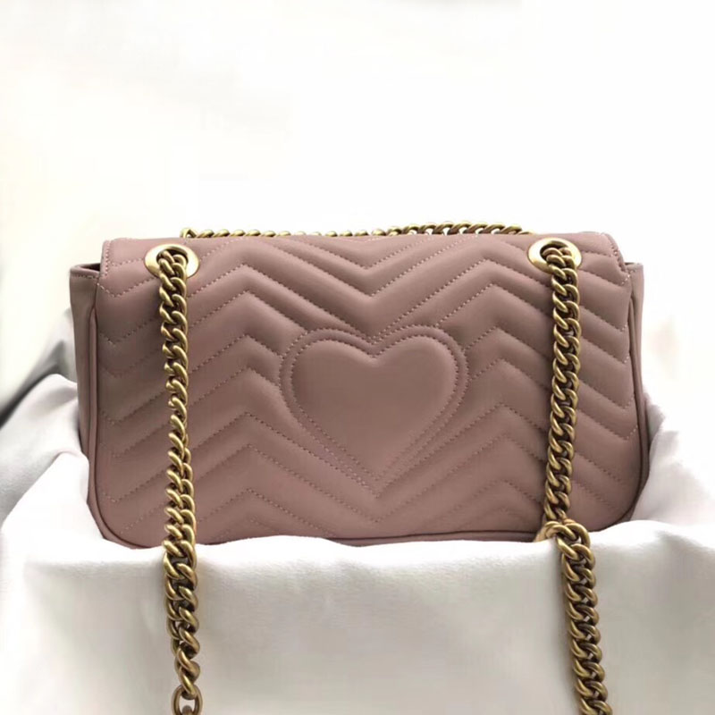Luxury Women Handbag High Quality Chains Shoulder Crossbody Bags Real Leather Fashion Female Messenger Heart-shaped Suture Bags