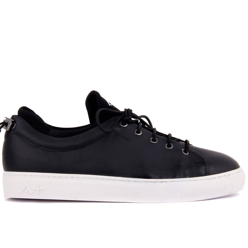 Special-Edition Black Stretch, Leather Men Sneaker