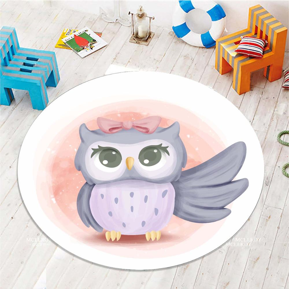 Else Funny Little Pink Purple Owl 3d Pattern Print Anti Slip Back Round Carpets Area Round Rug For Kids Baby Children Room