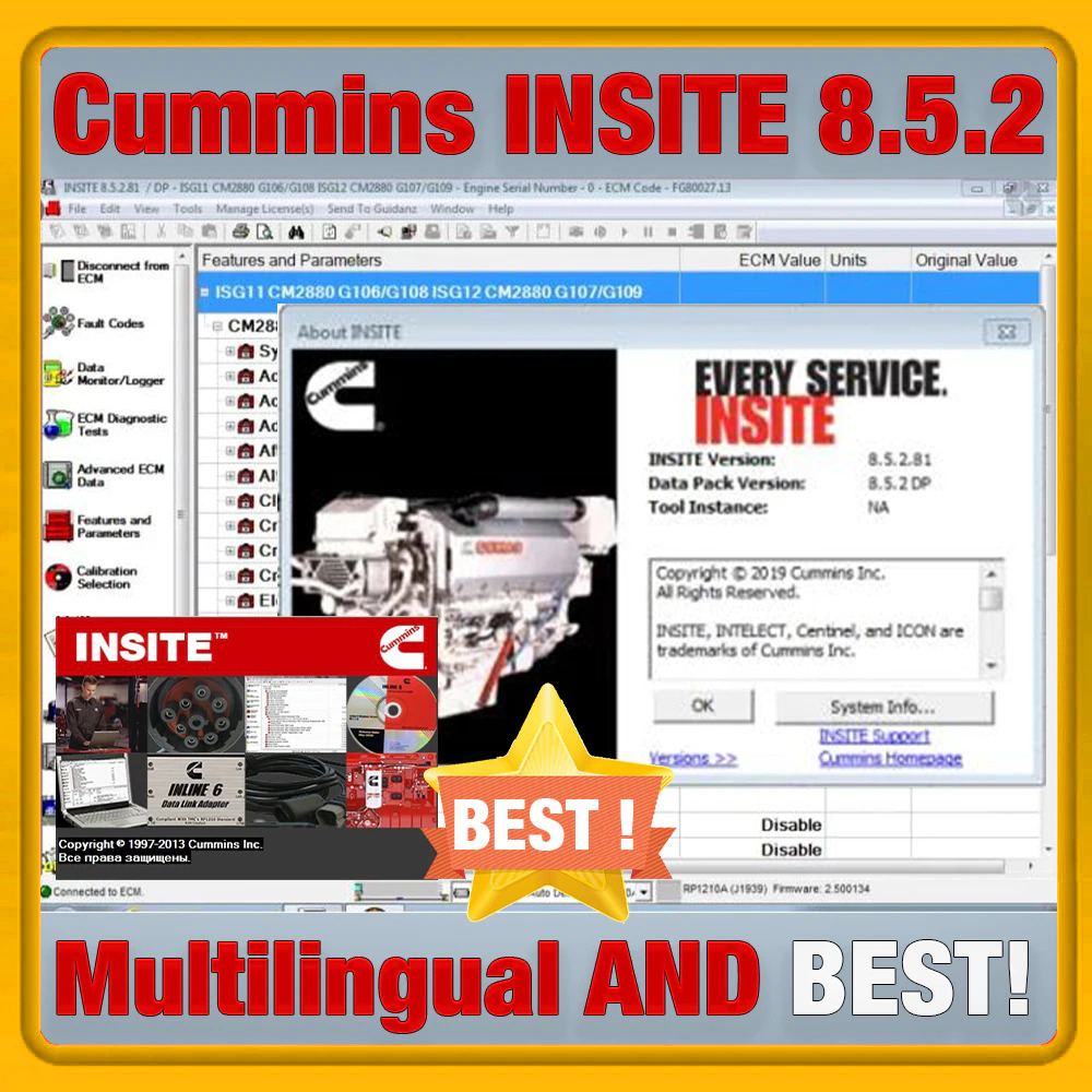 Cummins INSITE 8.5.2 многоязычный Cummins INSITE 8.5.2 программное обеспечение с накладными для диагностики и ECU перепрошить Функция мульти-языковой