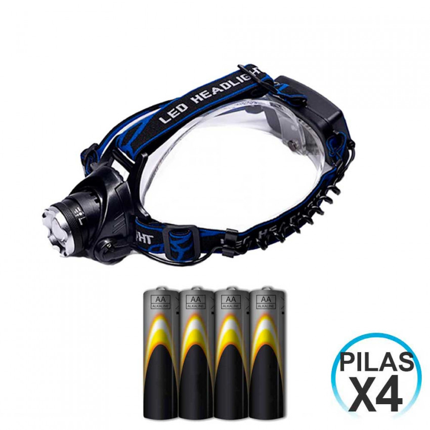 Front LED Flashlight 3 Position 10W And 4 Batteries LR06-AA Embedded 1,5V