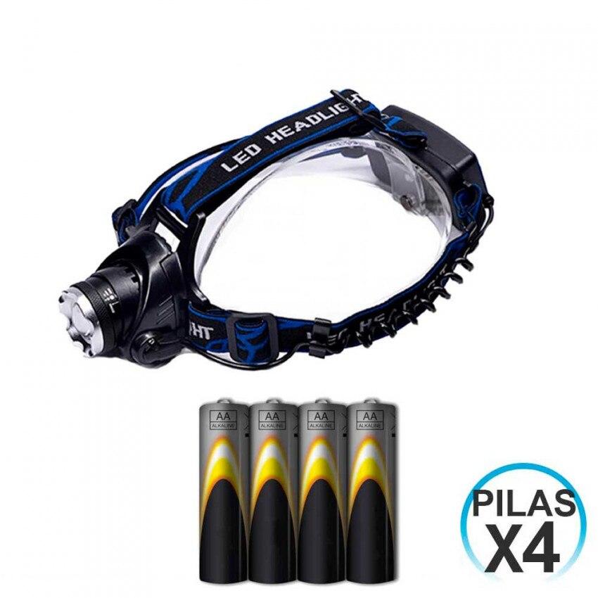 Lampe de poche LED avant 3 positions 10W et 4 Batteries LR06-AA intégré 1,5V