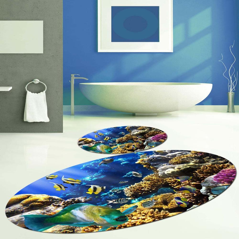 Else Blue ภายใต้ทะเลปลา Aquarium รูปไข่ 2 Pcs 3D รูปแบบพิมพ์เสื่ออาบน้ำ Anti SLIP Soft ล้างทำความสะอาดได้ห้องน้ำ