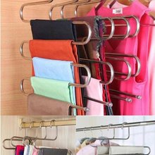 Stainless steel hanger for clothes 5 deck laundry rack pants tie scarf dress for space-saving hanger