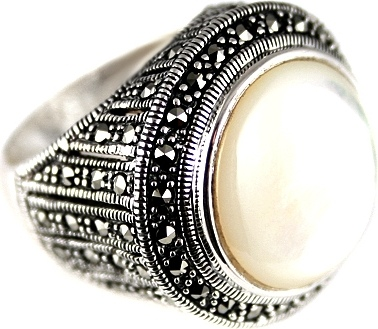 Jay VI Ring With Mother Of Pearl, Marcasite Of Silver
