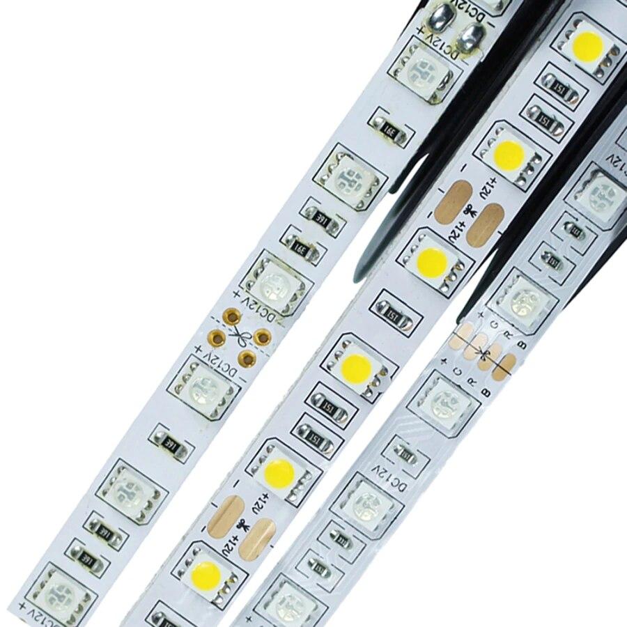 LED Strip SMD 5050 Non-Waterproof DC12V 60LEDs/m 5m/lot Flexible LED Light RGB RGB RGBW LED Strip LED Tape Home Decoration Lamps