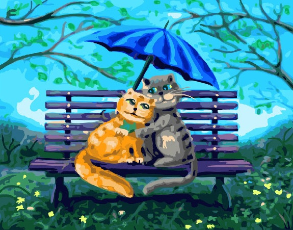 Painting By Numbers PK 22004 (GX 26875) In A Hug Under The Umbrella 40*50