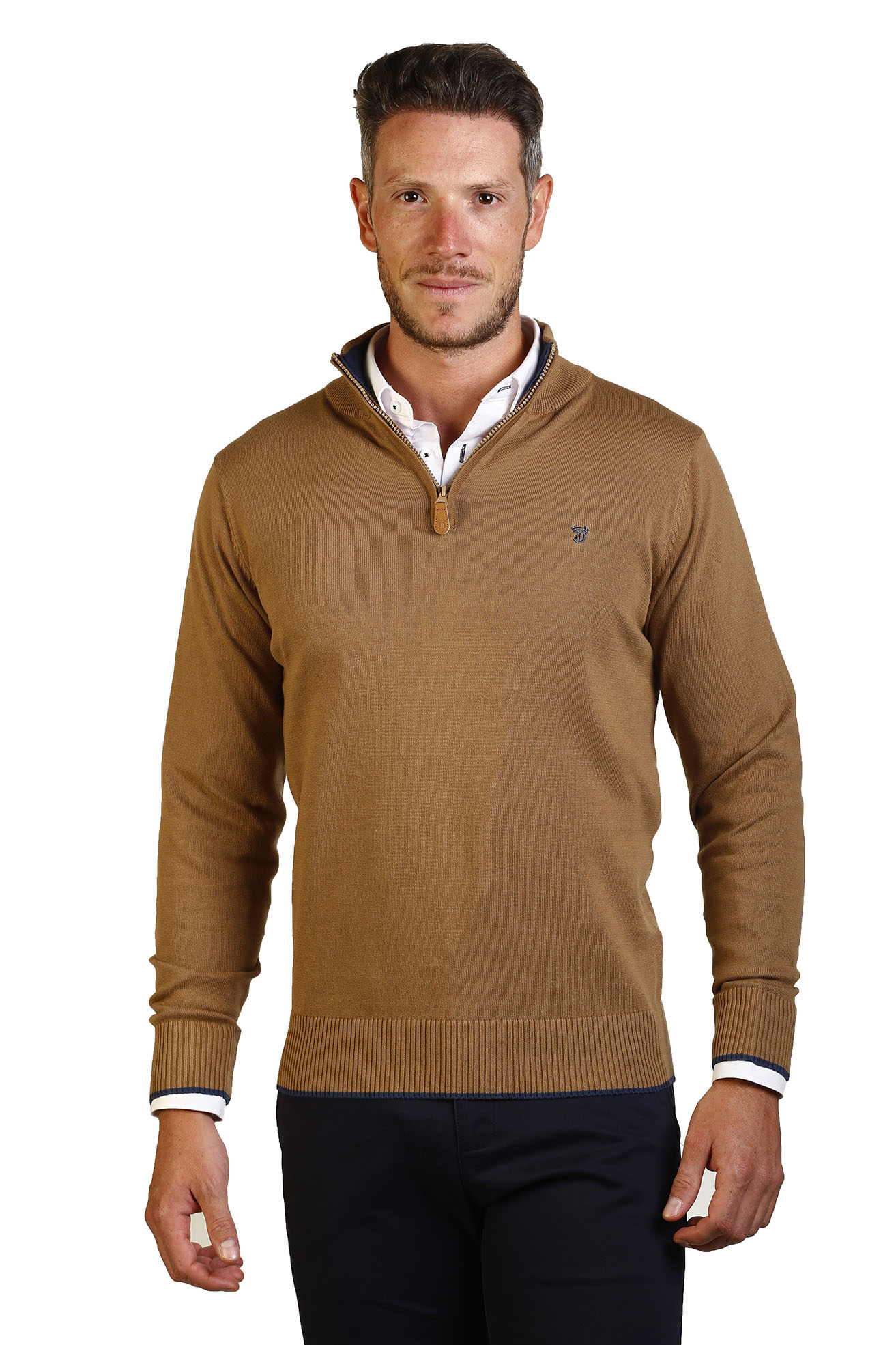 Jersey Men Neck Collar Zipper Length The Time Of Noggin JI1JCREMA-Camel