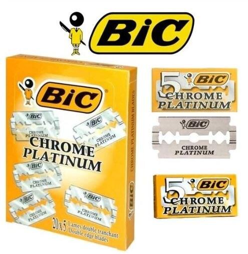 Lâmina de Barbear Cromo Platinum Duplo Afiado 100 Lâminas Original Barbeiro Bic