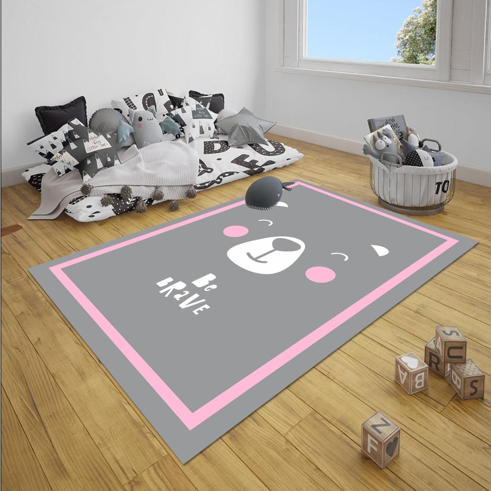 Else Gray Pink Border Cute Bear Junle Animals Girl 3d Print Non Slip Microfiber Children Baby Kids Room Decorative Area Rug Mat