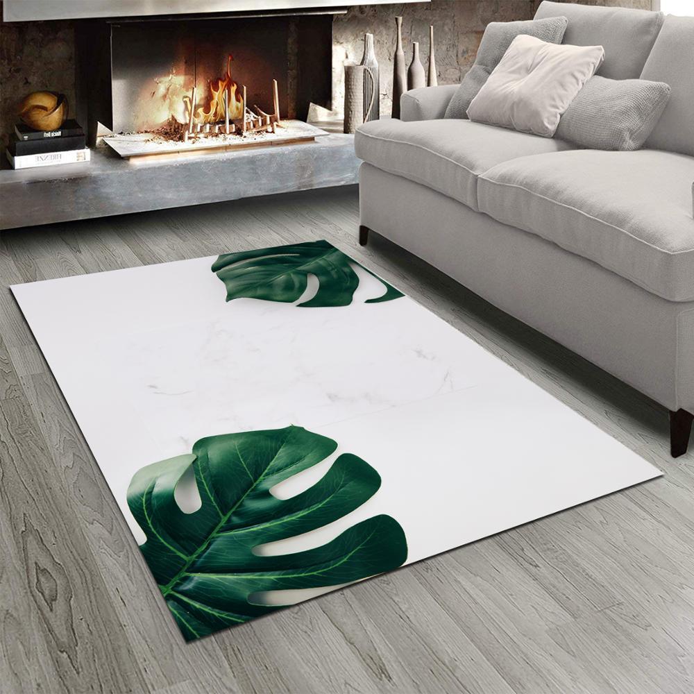 Else White Floor On Tropical Leaves Floral 3d Print Non Slip Microfiber Living Room Modern Carpet Washable Area Rug Mat