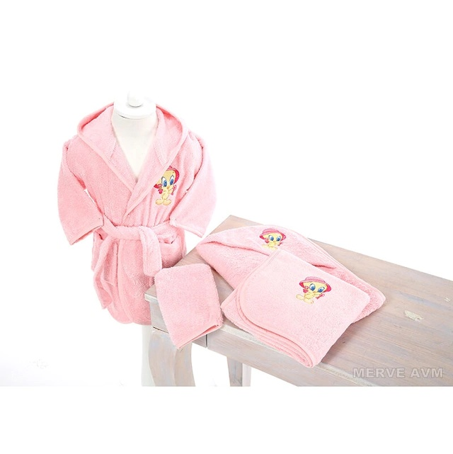 Özdilek Newborn Girl Baby Bamboo Bathrobe Set Tweety Pink 203338856