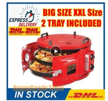 Czerwony kolor komercyjnych okrągła szafka 220V Drum piekarnik piekarnik ciasto przekąski pieczenia pizzy uniwersalny piekarnik zawiera 2xPan tanie i dobre opinie Dijitsu AR (pochodzenie)