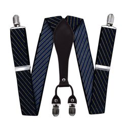 Suspenders for trousers wide (3.5 cm, 4 clips, blue, texture), 55321