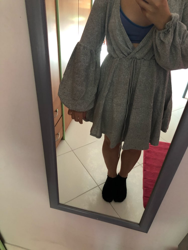 Women V Neck Ruffle Knitted Sweater Dress Autumn Winter Lace Up Short Dresses Casual Long Sleeve Solid A Line Dress photo review