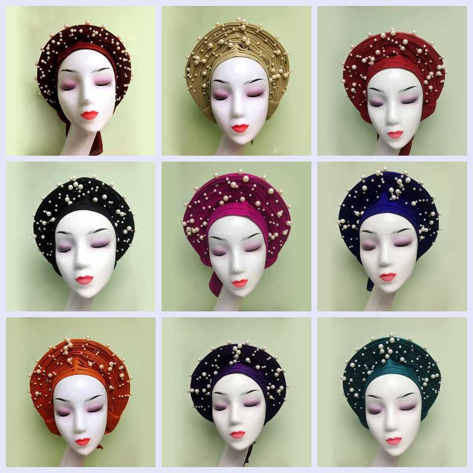 Latest auto gele ready made nigeria aso oke autogele Asoke Headwrap African Women Headtie MONA