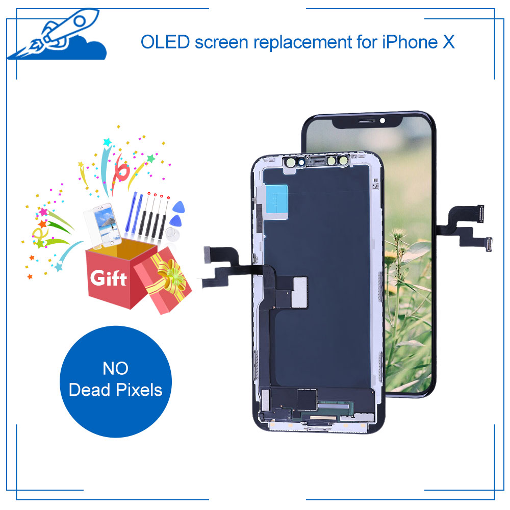 OLED Screen For <font><b>iPhone</b></font> X LCD Touch Screen With 3D Touch Digitizer Replacement Display True Tone Supported For iPhoneX Parts image