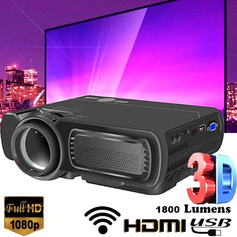 T5 LED 1080P Full HD Mini 3D projecteur WIFI Bluetooth HDMI USB LCD cinéma maison cinéma lecteur multimédia Portable Android projecteur