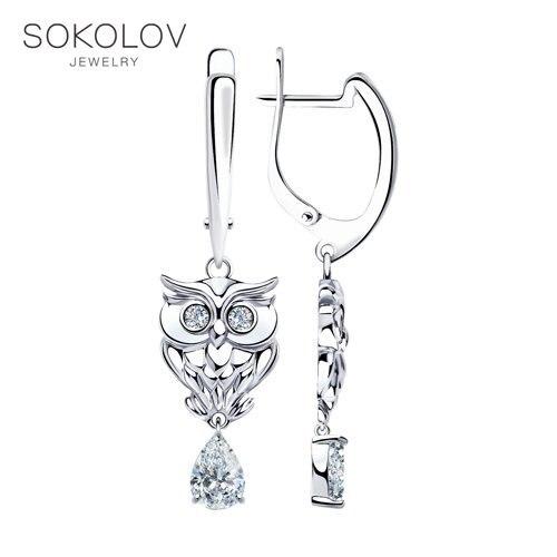 SOKOLOV Silver Drop Earrings With Stones With Stones With Stones With Cubic Zirconia Fashion Jewelry Silver 925 Women's/men's, Male/female