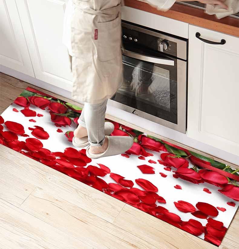 Ev ve Bahçe'ten Halı'de Başka bir kırmızı gül yaprakları çiçek çiçek 3d baskı kaymaz mikrofiber ön mutfak sayacı Modern dekoratif yıkanabilir alan kilim Mat title=