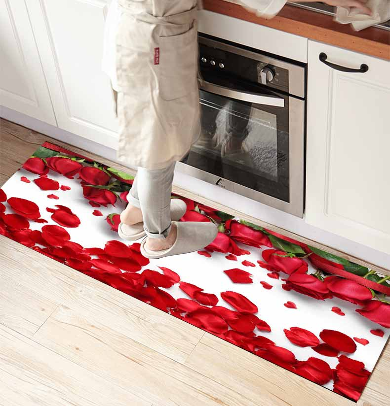 Else Red Rose Leaves Flower Floral 3d Print Non Slip Microfiber Front Of Kitchen Counter Modern Decorative Washable Area Rug Mat