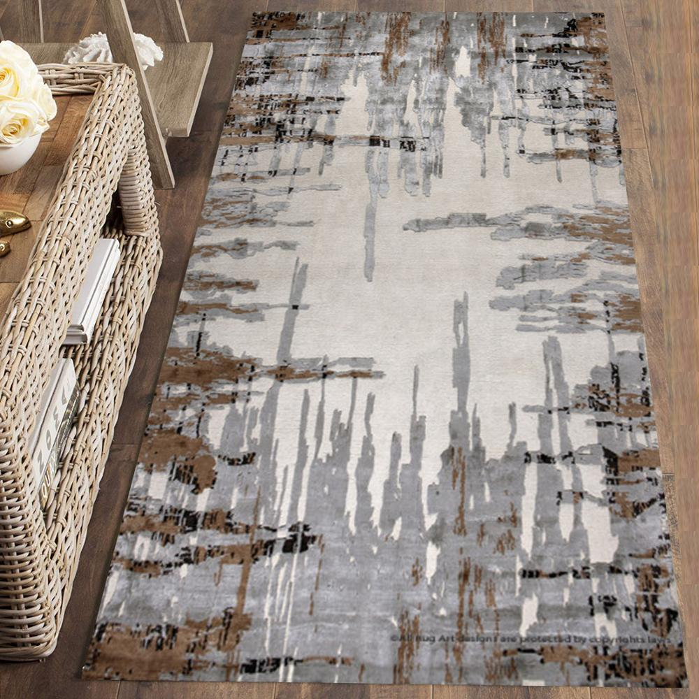 Else Gray Brown Abstract Lines Nordec Scandinav 3d Print Non Slip Microfiber Washable Runner Mats Floor Mat Rugs Hallway Carpets