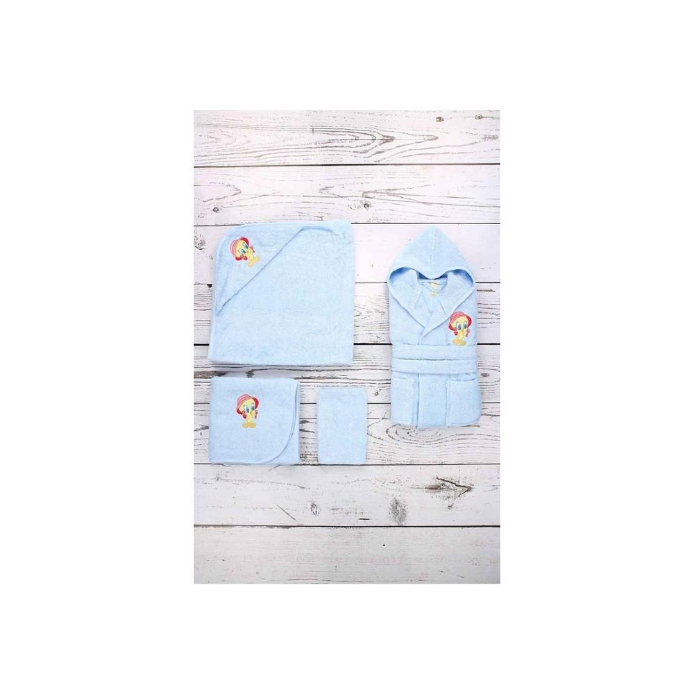 Özdilek Tweety Nak Bamboo Bathrobe Baby Set 0-3 Age Blue 100% Cotton