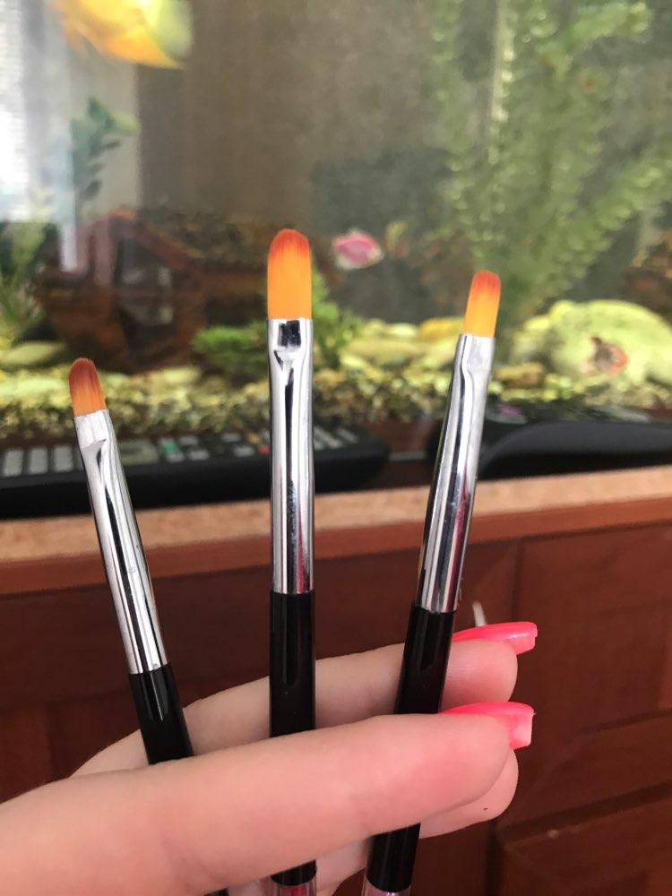 3 Size Nail Art Gold Round Top Painting Brush Set Gel Polish Tips Extending Coating 3D Petal Flower DIY Drawing Shaping Pens Kit reviews №2 39840