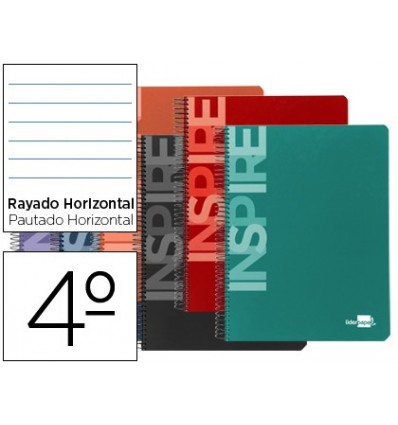 SPIRAL NOTEBOOK LEADERPAPER ROOM INSPIRE HARDCOVER 80H 60 GR HORIZONTAL CONMARGEN ASSORTED COLORS 10 Pcs