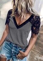 Camiseta de empalme a rayas con encaje para mujer, ropa con cuello de pico, de manga corta, Sexy, para verano, 2020