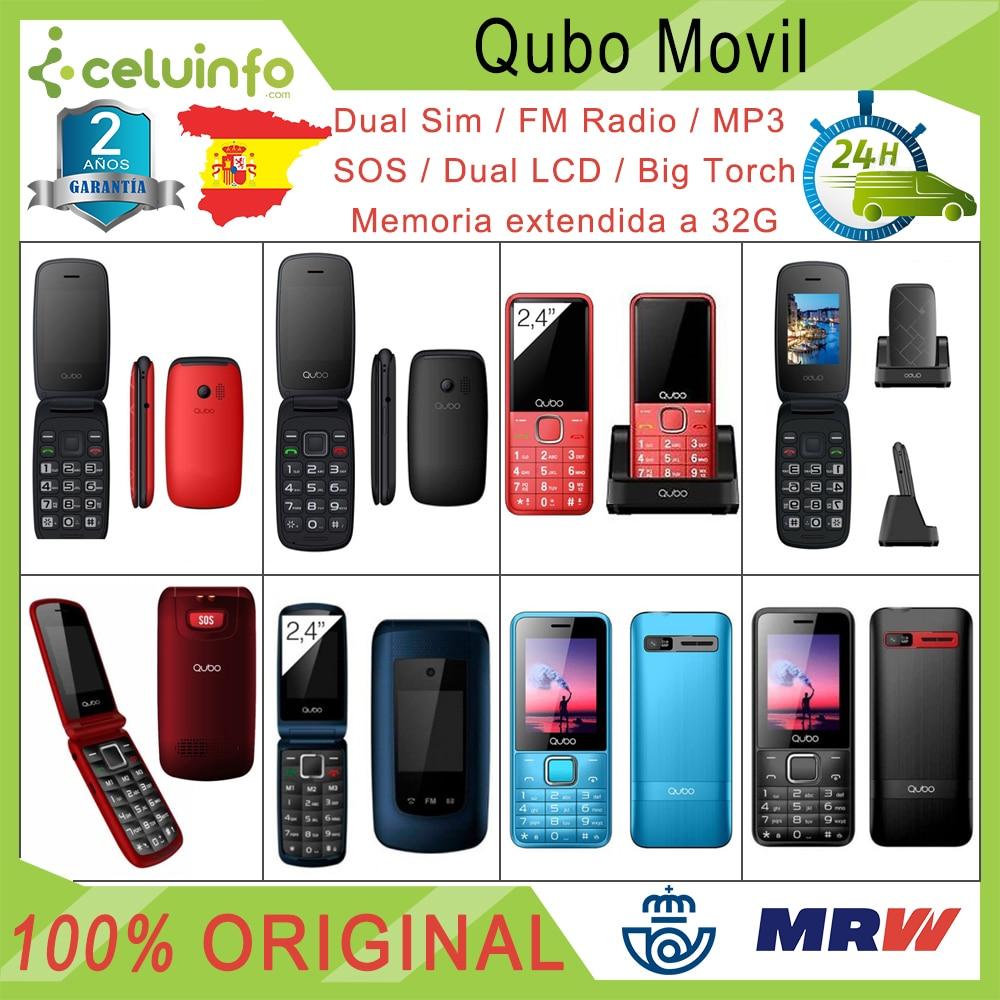 Qubo Mobile phone New Folding Senior SOS Radio MP3 Keys large Neo/Neo 2/Xeus/X229 Red blue Black