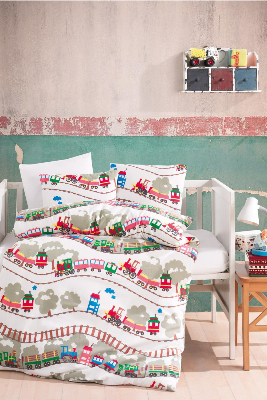 Lady Moda Train 4 Pcs Flannel Baby Bedding Set Crib Duvet | 100x150 Cm 100% Cotton Cartoon Baby Bed Linen Set From Turkey