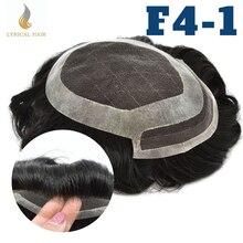 Laço francês frente dos homens peruca natural hairline poli revestimento em torno do sistema de cabelo preto substituição dos homens hairlpieces perucas F4-1
