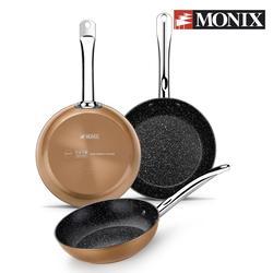 Monix Copper - Juego 3 sartenes antiadherentes de aluminio acabado cobre 20 24 28cm Para cocina de gas, vitroceramica, inducción