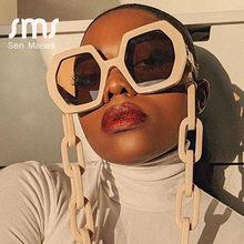 Benzersiz güneş gözlüğü zinciri seti kadınlar için 2020 lüks marka poligon kare güneş gözlüğü kadın Vintage Punk gözlük bej erkekler Shades
